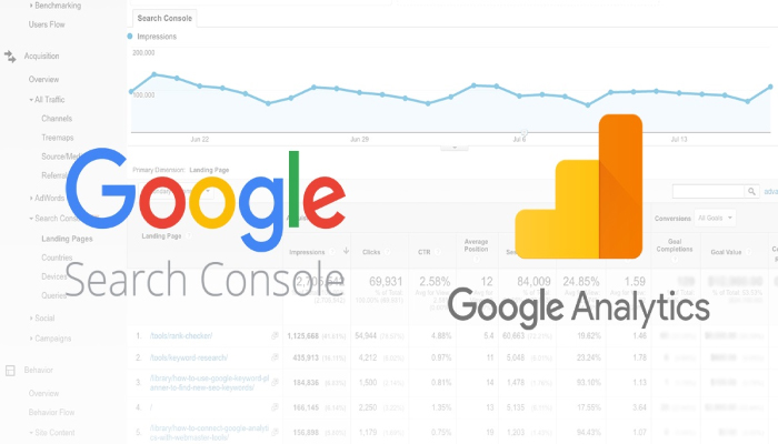 google analytics and google search consoles